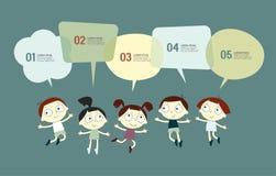 Hintergrund mit dem Bild von lustigen Kindern und Rede sprudeln Lizenzfreie Stockbilder
