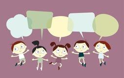 Hintergrund mit dem Bild von lustigen Kindern und Rede sprudeln Stockfotos