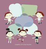 Hintergrund mit dem Bild von lustigen Kindern und Rede sprudeln Stockfotografie
