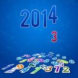 Hintergrund 2014 mit dem Fallen und den gefallenen Zahlen Lizenzfreie Stockfotografie
