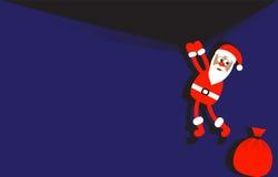 Hintergrund mit dem Hängen von Weihnachtsmann Lizenzfreies Stockfoto