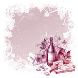 Hintergrund mit dem Leben des Weinleseweins noch Stockfotografie