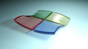 Hintergrund mit dem Logo, das 4 farbige Quadrate - Wiedergabe 3D hat stock video footage