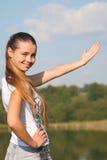 Hintergrund mit dem Mädchen Stockfoto