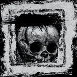 Hintergrund mit dem Schädel in der grunge Art Stockfotografie