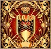 Hintergrund mit den Armen und Krone eines Goldschildes Stockbilder