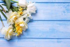 Hintergrund mit den weißen und gelben Blumen auf Blau malte woode Stockbild