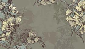Hintergrund mit den weich grünen und braunen Blumen Stockfoto