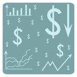 Hintergrund mit Dollar, Zeitplan, Pfeile, Diagramm, System von Koordinaten Stockfotos
