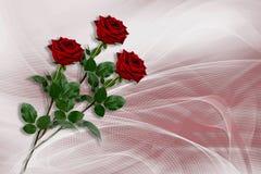 Hintergrund mit drei roten Rosen lizenzfreie stockbilder