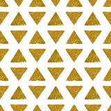 Hintergrund mit Dreiecken des goldenen Funkelns, nahtloses Muster Lizenzfreie Stockbilder