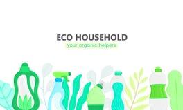 Hintergrund mit eco freundlichem Haushaltsputzzeug und -blättern Natürliche Reinigungsmittel Produkte für Hausreinigung stock abbildung