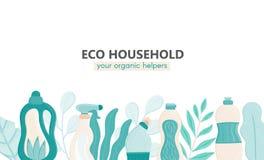 Hintergrund mit eco freundlichem Haushaltsputzzeug und -bl?ttern Nat?rliche Reinigungsmittel Produkte f?r Hausreinigung stock abbildung