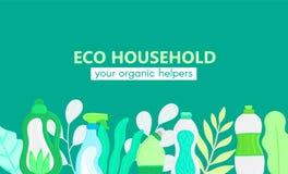 Hintergrund mit eco freundlichem Haushaltsputzzeug und -bl?ttern Nat?rliche Reinigungsmittel Produkte f?r Hausreinigung lizenzfreie abbildung