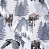 Hintergrund mit einem Adler, einem Bären, einem Elch und einem Wolf Nahtloses Muster lizenzfreie abbildung