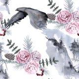 Hintergrund mit einem Adler und sibirischen Anlagen Nahtloses Muster Stockbild
