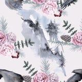 Hintergrund mit einem Adler und sibirischen Anlagen Nahtloses Muster Lizenzfreie Stockbilder