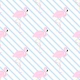 Hintergrund mit einem blauen Schrägstreifen und Flamingos Lizenzfreie Stockfotos