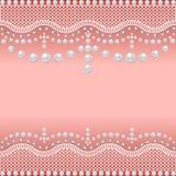 Hintergrund mit einem Gitter von Perlen und von Edelsteinen Stockfotografie