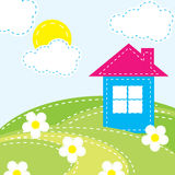 Hintergrund mit einem Haus für das Schätzchen Stockfotos