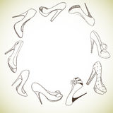 Hintergrund mit einem Kreis von Schuhen Lizenzfreie Stockfotografie