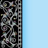 Hintergrund mit einem Muster von Edelsteinen und von Blumen Stockbilder