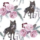 Hintergrund mit einem Wolf und sibirischen Anlagen Nahtloses Muster Stockfotos