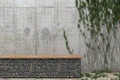 Hintergrund mit einer grauen Betonmauer mit Efeu und eine Bank von Steinen Vorderansicht mit Kopienraum Wiedergabe 3d vektor abbildung