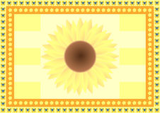 Hintergrund mit einer großen Sonnenblume, kleinen Blumen und Schmetterlingen Stockfotografie