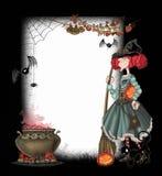 Hintergrund mit einer Hexe stock abbildung