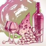 Hintergrund mit einer Weinflasche Lizenzfreie Stockbilder