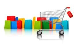 Hintergrund mit Einkaufenfarbenbeuteln Stockbild