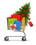 Hintergrund mit Einkaufsfarbtaschen Stockbild