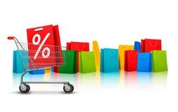 Hintergrund mit Einkaufsfarbtaschen und Einkaufen c Stockbild