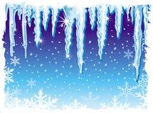 Hintergrund mit Eiszapfen Stockbild