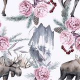 Hintergrund mit Elchen und sibirischen Anlagen Nahtloses Muster Stockbild