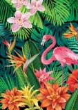 Hintergrund mit exotischen tropischen Blumen Stockbild