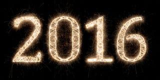 Hintergrund mit 2016 Feuerwerken Lizenzfreie Stockfotos