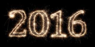 Hintergrund mit 2016 Feuerwerken Stockfoto