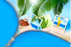 Hintergrund mit Fotos von den Feiertagen auf einer Küste. Lizenzfreie Stockbilder