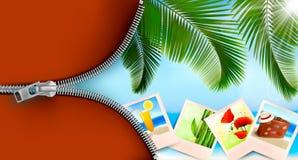 Hintergrund mit Fotos von den Feiertagen auf einer Küste. Stockfoto
