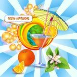 Hintergrund mit frischem Orangensaft stock abbildung
