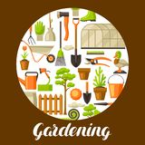 Hintergrund mit Gartenwerkzeugen und -einzelteilen Gartenarbeitillustration der Jahreszeit stock abbildung