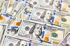 Hintergrund mit Geldamerikaner hundert Dollarscheine Lizenzfreies Stockbild