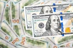 Hintergrund mit Geldamerikaner hundert Dollarscheine Stockfoto