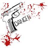 Hintergrund mit Gewehr und Blutflecken Stockbilder