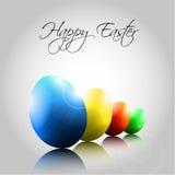 Hintergrund mit glücklichen bunten Eiern Stockbilder