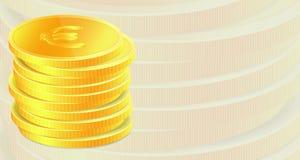 Hintergrund mit goldenen Münzen. Stockfotos