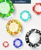 Hintergrund mit großen, glänzenden und farbigen Diamanten lizenzfreie abbildung