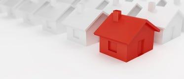Hintergrund mit H?usern E 3d auf einer wei?en Illustration des Hintergrundes 3D lizenzfreies stockfoto